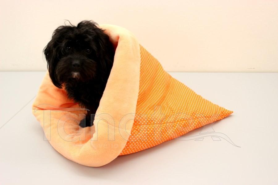 Chumlací pytel - velký Puntíčky v oranžové