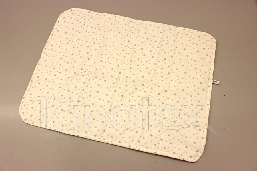 Pratelná podložka - šedobéžové hvězdičky na bílé